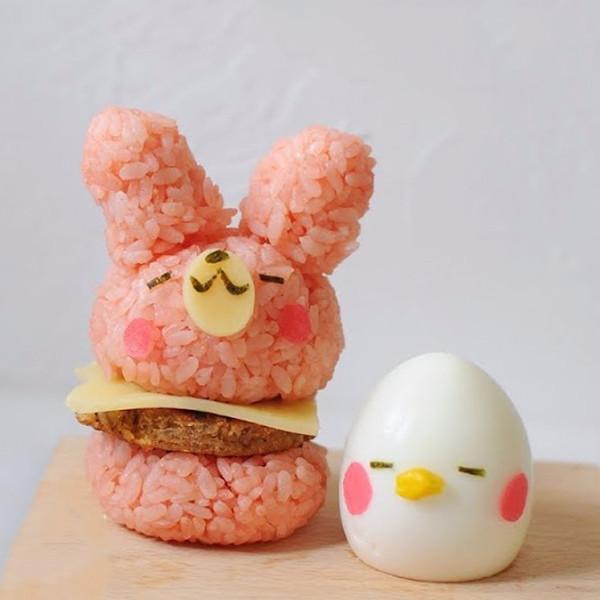 【kitb】超萌便當~兔兔米漢堡與P助水煮蛋