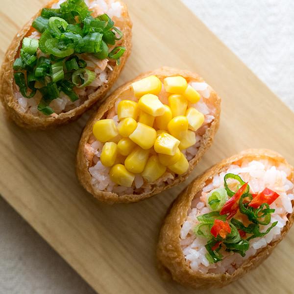 超簡單清冰箱料理──三色稻荷鮭魚飯糰(便當)