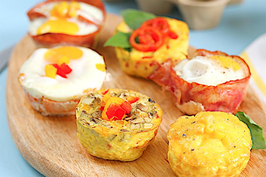 早午餐,蛋料理,早餐,馬芬烤模,烤箱