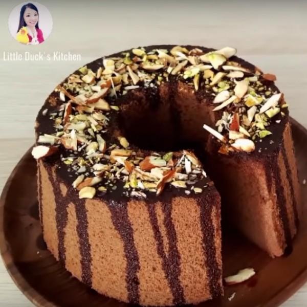 【小黃鴨廚房】超綿密~巧克力米戚風蛋糕