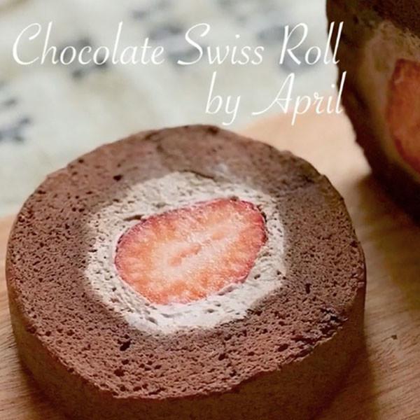 【波波小姐的廚房】一切開暗藏酸甜驚喜~雙重濃郁可可草莓蛋糕捲